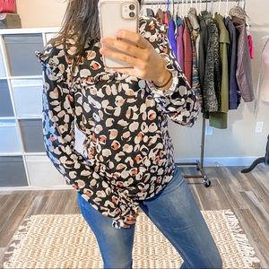 Karl Lagerfeld Ruffled Patterned Blouse Size M